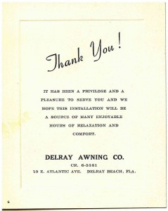 Delray Awning Co Thank You Pleasure To Serve Note Card