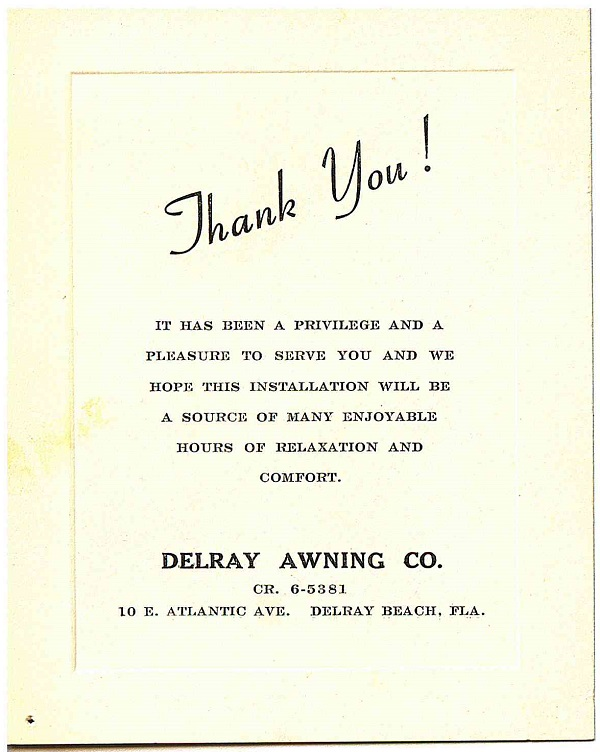 Delray Awning Co Thank You, Pleasure To Serve You Note Card