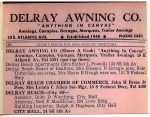 Delray Beach 1953 City Directory Listing of Delray Awning Co