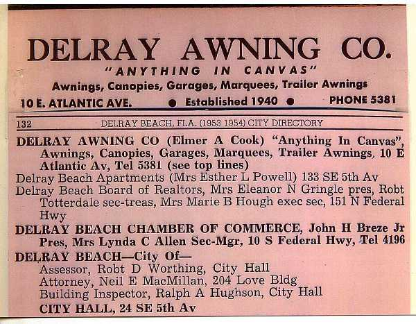 Delray Beach 1953 City Directory Listing Of Awning Co