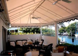 Patio awning enclosure underside view